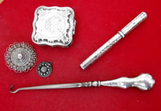 five elegant antique silver ornaments