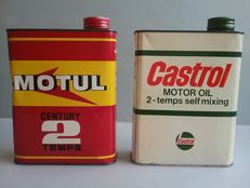 2 old oil cans for 2 stroke engines