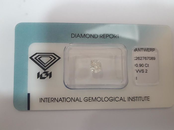 0.90ct Cushion Modified Brilliant Diamond I VVS2  IGI  -Low Reserve Price - #1886