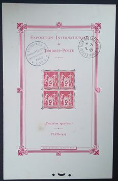 France 1925 – Bloc-sheet, International exhibition of Paris – Yvert No. BF1