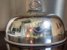 Large antique engraved silver plated bell jar - Thomas Bradbury & Sons - Sheffield c1855 - c. 1905