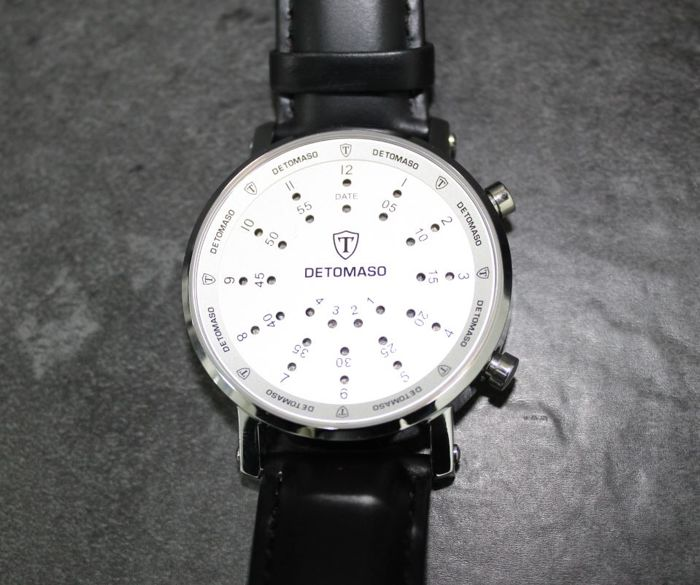 DETOMASO Spacy Timeline men's watch - leather strap - digital - binary - new