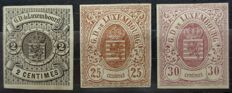 Luxembourg 1859/63 - 3 classical non-serrated - Yvert Nos. 4, 8 and 9 -