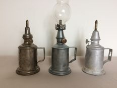 Three oil lamps - early 20th century - France.