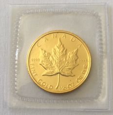 Canada 1/10 oz gold maple leaf in 1986, mint-fresh foil welded in, absolutely rare