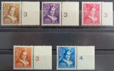 "Luxembourg 1933 - Complete series with BDF numbered ""Comte Henri VII"" - Yvert n ° 244 to 248 -"