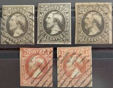 Luxembourg 1852 - Selection of nuances 1 and 2 (Yvert) - Guillaume III with watermark W -