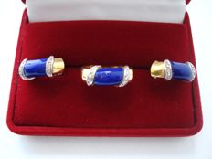 Vintage ( 1960s - 1970s) - Italy – 18k solid Gold Set with Lapis Lazuli & Diamonds = Ring + Earrings