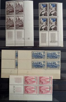 France 1940/1980 - More than 160 modern dated corners with duplication - Post Office, Service, UNESCO...