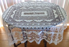Antique crocheted and knotted butterfly tablecloth