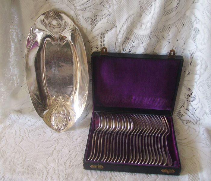 Christofle Gallia / Art Deco / silver plated / serving dish / serving spoon fork