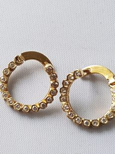 Gold earrings, 14 kt, with 0.60 ct diamonds
