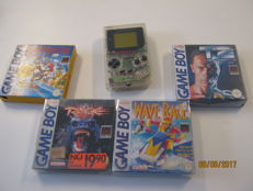 Transparent original Gameboy incl 4 boxed games. Marioland, T2, Wave race and Rage