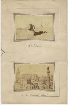 Wilhelm Hammerschmidt (act. c. 1860-1869)-The great Sphinx at Giza / From the dead city in Cairo on mat cardboard