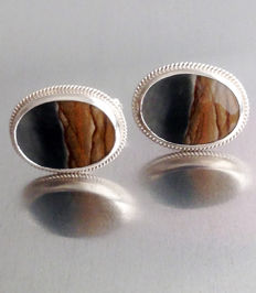 Vintage 1970s Natural Agate Silver Cuff Links