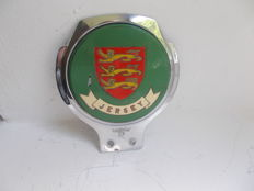 vintage JERSEY  chrome car badge 1960s original