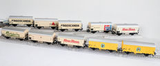 Märklin H0 - 10 x closed freight cars with imprints, mostly of the DB