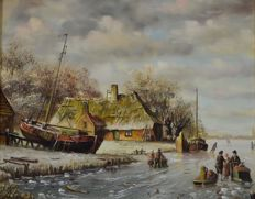 Pieter Cornelis Steenhouwer (1896-1972) - A pair of 18th century style Dutch winter scenes