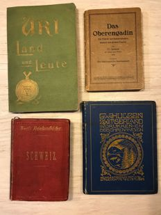 Lot of 4 travel guides on Switzerland, more specific on Uri, Oberengadin, Schweiz and Zwitserland - 1879  / 1928