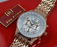 Krug Baumen - Air Traveller - 8 Diamonds - Rose Gold Chronograph Watch - Never worn