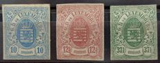 Luxembourg 1859/63 - 3 classical non-serrated - Yvert Nos. 6, 7 and 10 -