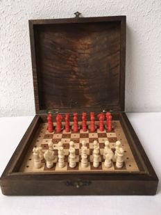 Antique chess set made of bone, ca. 150 years old