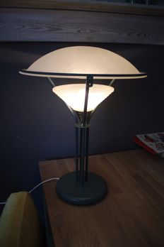 Industrial table/desk lamp - jade green version with brass centre piece, 1970s