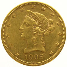 "United States – 10 Dollars  1905S   "" Coronet Head "" – Gold"