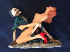 Fantasy art; Skeleton making love with nude young woman - 1990