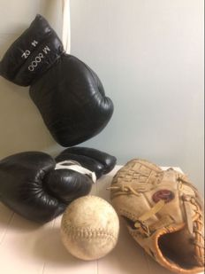 """Old times sports"" boxing gloves, baseball glove and a softball"