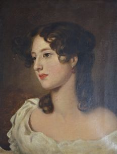 Unknown (19th century) - A portrait of an attractive young lady