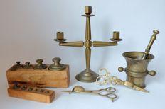 Copper objects-weights, candle holder, candles, children, Jack