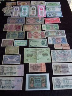 World - Lot of 62 currency notes - old - France and foreign