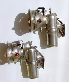 Two old carbide lamps, early 20th century