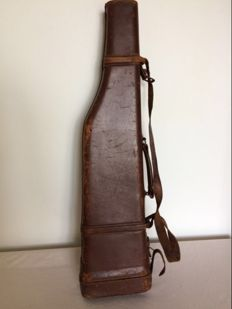Leather case for double barrel shotgun. France early 20th century.