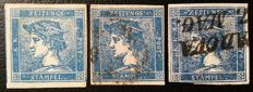 Italy Lombardy & Venice newspaper stamp Sassone 1 and 3 Type I and III