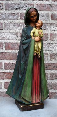 OUR LADY with child polychrome plaster sculpture, signed O. Van Laere - Belgium - first half of the 20th century