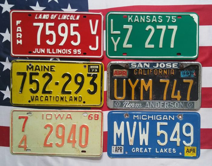 6 USA classics nummerplaten nummerborden kentekenplaten license plates