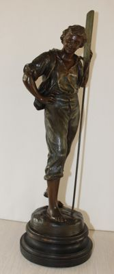 Large zamak sculpture of a young man with an oar - France -ca. 1900