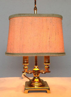 French Bouillotte lamp with two light points and original dust cover, second half 20th century