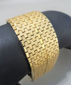 Very wide and heavy 18 kt GOLD-PLATED bracelet, 1970s