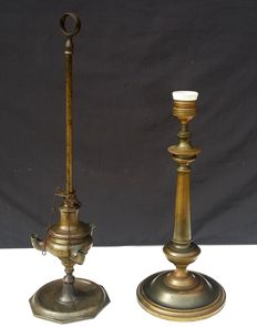 Two brass lighting items, Lombardy, Italy -  second half of the 19th century