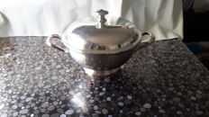 Silver plated metal soup tureen, signed Christofle