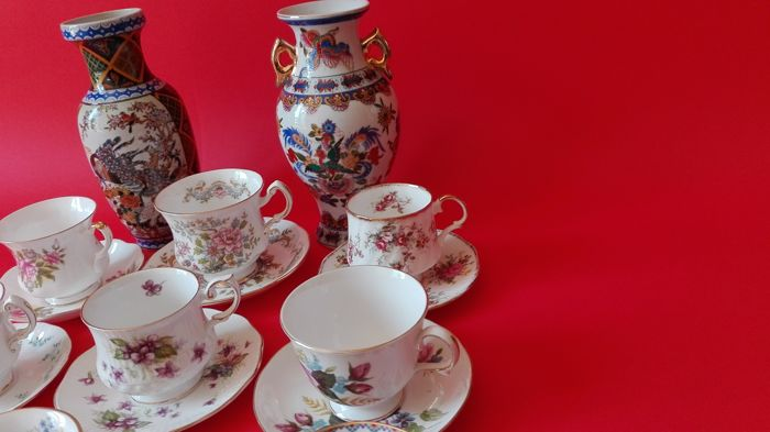 Nine collectible English cups + Two hand painted vases