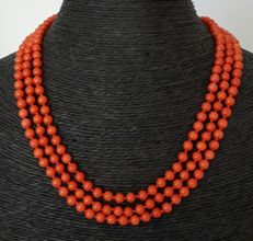 Necklace made of coral and 925 silver - Length 52 cm