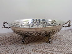 Large fruit bowl in silver plated with floral decor,  Portuguese Navy,  20th century