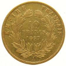 France – 10 Francs 1857A - Napoleon III – gold