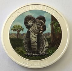 Australia - 1 Dollar 2017 'Koala' coloured - 1 oz silver