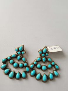 Navajo earrings – gypsy style, with turquoise (Sleeping Beauty) – handmade by master Geneva – never worn