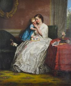 Castello. (19th century) A mother reading with her young child.